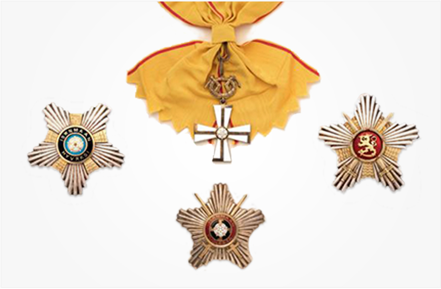 Grand Cross of the Cross of Liberty with swords, Star of the Grand Cross of the Order of the White Rose of Finland and Star of the Grand Cross of the Order of the Lion of Finland with swords.